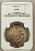 Morgan Dollars: , 1896 $1 MS63 NGC. NGC Census: (12962/21823). PCGS Population(12192/17038). Mintage: 9,976,762. Numismedia Wsl. Price for p...