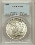 Peace Dollars: , 1935 $1 MS60 PCGS. PCGS Population (47/6714). NGC Census:(23/5586). Mintage: 1,576,000. Numismedia Wsl. Price for problem...