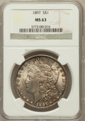 Morgan Dollars: , 1897 $1 MS63 NGC. NGC Census: (4369/7636). PCGS Population(4944/6725). Mintage: 2,822,731. Numismedia Wsl. Price for probl...