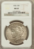 Peace Dollars: , 1926 $1 MS63 NGC. NGC Census: (2669/3877). PCGS Population(2930/4978). Mintage: 1,939,000. Numismedia Wsl. Price for probl...