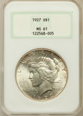 Peace Dollars: , 1927 $1 MS61 NGC. NGC Census: (375/3728). PCGS Population(208/5481). Mintage: 848,000. Numismedia Wsl. Price for problemf...