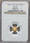 California Fractional Gold: , 1880/76 25C Indian Round 25 Cents, BG-885, R.3, MS64 Prooflike NGC.NGC Census: (8/5). ...