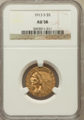 Indian Half Eagles: , 1913-S $5 AU58 NGC. NGC Census: (655/387). PCGS Population(180/319). Mintage: 408,000. Numismedia Wsl. Price for problem f...