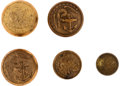 Militaria:Uniforms, Buttons: A Grouping of Five United States Marine Officer's Buttons,... (Total: 5 )