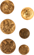 Militaria:Uniforms, Buttons: Three Dragoon Buttons and Three Riflemen Buttons.... (Total: 6 )
