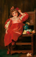 Fine Art - Painting, European, HARRIETTE SUTCLIFFE (British, active 1881-1922). As Rosy as a Pippin. Oil on canvas. 40 x 26 inches (101.6 x 66.0 cm). I...