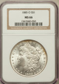 Morgan Dollars: , 1885-O $1 MS66 NGC. NGC Census: (4360/537). PCGS Population(2273/195). Mintage: 9,185,000. Numismedia Wsl. Price for probl...