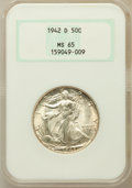 Walking Liberty Half Dollars: , 1942-D 50C MS65 NGC. NGC Census: (1545/1005). PCGS Population(2790/1248). Mintage: 10,973,800. Numismedia Wsl. Price for p...