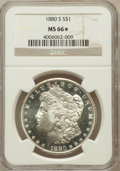 Morgan Dollars: , 1880-S $1 MS66 ★ NGC. NGC Census: (11065/3347). PCGS Population(9595/2013). Mintage: 8,90...