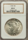Peace Dollars: , 1928 $1 MS61 NGC. NGC Census: (551/3706). PCGS Population(275/5659). Mintage: 360,649. Numismedia Wsl. Price for problemf...