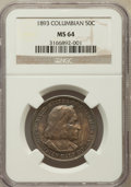 Commemorative Silver: , 1893 50C Columbian MS64 NGC. NGC Census: (1808/795). PCGSPopulation (1502/705). Mintage: 1,550,405. Numismedia Wsl. Price...