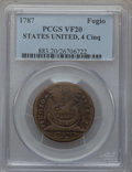 Colonials, 1787 1C Fugio Cent, STATES UNITED, 4 Cinquefoils, Pointed Rays VF20PCGS. N. 9-S, W-6765, R.6....