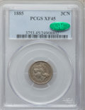 Three Cent Nickels, 1885 3CN XF45 PCGS. CAC....
