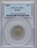 Shield Nickels: , 1883 5C AU50 PCGS. PCGS Population (33/1918). NGC Census: (6/1527).Mintage: 1,456,919. Numismedia Wsl. Price for problem f...