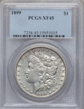 Morgan Dollars: , 1899 $1 XF45 PCGS. PCGS Population (95/10893). NGC Census:(54/8240). Mintage: 330,846. Numismedia Wsl. Price for problem f...