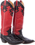 Miscellaneous, Western Apparel: Black Ostrich Boots....