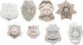 Western Expansion:Cowboy, Lot of Eight Texas Law Enforcement Badges.... (Total: 8 Items)