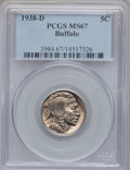 Buffalo Nickels: , 1938-D 5C MS67 PCGS. PCGS Population (1585/8). NGC Census:(1949/8). Mintage: 7,020,000. Numismedia Wsl. Price for problem ...