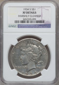 Peace Dollars, 1934-S $1 -- Harshly Cleaned -- NGC Details. XF. NGC Census:(178/2475). PCGS Population (320/3501). Mintage: 1,011,000. Nu...