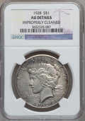 Peace Dollars: , 1928 $1 -- Improperly Cleaned -- NGC Details. AU. NGC Census:(87/5708). PCGS Population (172/7686). Mintage: 360,649. Numi...