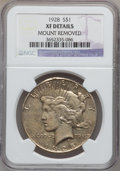 Peace Dollars, 1928 $1 -- Mount Removed -- NGC Details. XF. NGC Census: (51/5933).PCGS Population (103/8019). Mintage: 360,649. Numismedi...