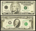 Error Notes:Error Group Lots, Fr. 2029-J $10 1990 Federal Reserve Note. Very Fine-ExtremelyFine;. Fr. 2034-K $10 1999 Federal Reserve Note. Very Fine....(Total: 2 notes)