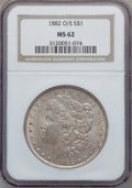 Morgan Dollars: , 1882-O/S $1 MS62 NGC. NGC Census: (516/848). PCGS Population(644/616). Mintage: 1,039. Numismedia Wsl. Price for problem f...