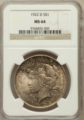 Peace Dollars: , 1922-D $1 MS64 NGC. NGC Census: (2747/1158). PCGS Population(3183/1257). Mintage: 15,063,000. Numismedia Wsl. Price for pr...