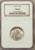 Standing Liberty Quarters: , 1926-D 25C MS64 NGC. NGC Census: (960/259). PCGS Population(1461/212). Mintage: 1,716,000. Numismedia Wsl. Price for probl...