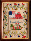 "Military & Patriotic:Civil War, Civil War Needlepoint Sampler, ""The Union Forever"" on a 35-Star Flag...."