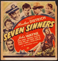 "Movie Posters:Adventure, Seven Sinners (Universal, 1940). Trimmed Window Card (14"" X 14.5"").Adventure.. ..."
