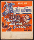 """Movie Posters:Western, They Died with Their Boots On (Warner Brothers, 1941). Trimmed Window Card (14"""" X 16.75""""). Western.. ..."""