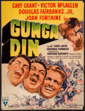 "Movie Posters:Action, Gunga Din (RKO, R-1942). Trimmed Window Card (13"" X 17""). Action....."