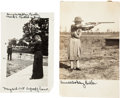Photography:Official Photos, Annie Oakley: Two Fine Original Photos Showing Her Shooting. ...(Total: 2 Items)