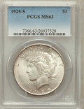 Peace Dollars: , 1925-S $1 MS63 PCGS. PCGS Population (2528/1820). NGC Census:(1582/1687). Mintage: 1,610,000. Numismedia Wsl. Price for pr...