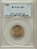 Liberty Nickels: , 1908 5C MS62 PCGS. PCGS Population (74/468). NGC Census: (67/376).Mintage: 22,686,176. Numismedia Wsl. Price for problem f...
