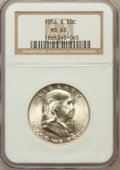 Franklin Half Dollars: , 1954-S 50C MS65 NGC. NGC Census: (4758/397). PCGS Population(3666/202). Mintage: 4,993,400. Numismedia Wsl. Price for prob...