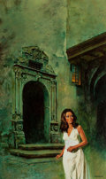Pulp, Pulp-like, Digests, and Paperback Art, ENRICH TORRES (Spanish, b. 1939). The House of Sinister Shadows,paperback cover, 1972. Oil on canvas paper. 24 x 14.5 i...