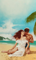 Pulp, Pulp-like, Digests, and Paperback Art, ENRICH TORRES (Spanish, b. 1939). A Beach Romance, paperbackcover. Oil on unstretched canvas. 21 x 13 in. (image). Sign...