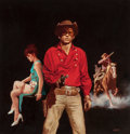 Pulp, Pulp-like, Digests, and Paperback Art, ENRICH TORRES (Spanish, b. 1939). Cowboy Love Story, paperbackcover. Oil on unstretched canvas. 15 x 14.5 in. (image). ...