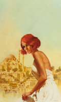 Pulp, Pulp-like, Digests, and Paperback Art, ENRICH TORRES (Spanish, b. 1939). Sybaritic Death, paperbackcover. Oil on canvas paper. 22.75 x 13.75 in. (image). Sign...