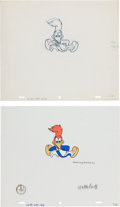 Animation Art:Production Cel, Woody Woodpecker Show Animation Production Cel and DrawingOriginal Art (Walter Lantz, 1957).... (Total: 2 Items)