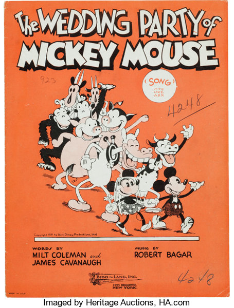 The Wedding Party of Mickey Mouse Sheet Music (Bibo-Lang, 1931 ...