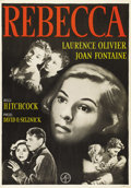 "Movie Posters:Hitchcock, Rebecca (United Artists, R-1949). Swedish One Sheet (27.5"" X39.5""). Directed by Alfred Hitchcock. Starring Laurence Olivier..."