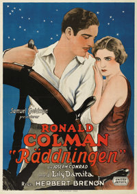 """The Rescue (United Artists, 1929). Swedish One Sheet (27.5"""" X 39.5""""). Directed by Herbert Brenon. Starring Ron..."""