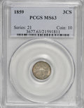 Three Cent Silver: , 1859 3CS MS63 PCGS. PCGS Population (71/101). NGC Census: (52/135).Mintage: 364,200. Numismedia Wsl. Price for NGC/PCGS co...