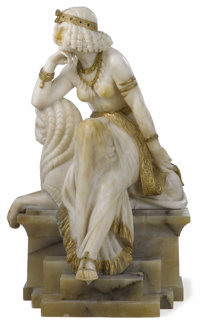 A Continental Art Nouveau Carved Figure  Unknown artist Circa 1900 Carved partial-gilt alabaster and gla