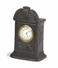 General Americana, Black Basalt Wedgwood Mantel Clock. Wedgwood, Stoke-on-Trent,Staffordshire, England. 19th century. Carved basalt. Marks: ...