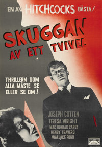 """Shadow of a Doubt (Universal, 1943). Swedish One Sheet (27.5"""" X 39.5""""). Directed by Alfred Hitchcock. Starring..."""