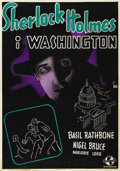 "Movie Posters:Mystery, Sherlock Holmes in Washington (Universal, 1943). Swedish One Sheet(27.5"" X 39.5""). Directed by Roy William Neill. Starring ..."